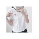 Lollipop Embroidered Contrast Striped Trim Lapel Collar Short Sleeve Tee