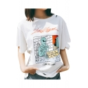 Cut Out Detail Letter Alien Printed Round Neck Short Sleeve Tee
