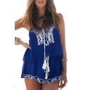 Floral Embroidered Spaghetti Straps Cami with Loose Drawstring Waist Shorts Co-ords