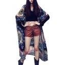 Tribal Printed Long Sleeve Tassel Embellished Tunic Kimono Coat