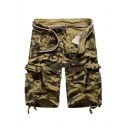 Camouflage Printed Zipper Fly Loose Utility Shorts