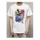 Planet Balloon Character Printed Round Neck Short Sleeve Tee