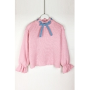 Bow Tied Embellished High Neck Long Sleeve Ruffle Cuff Sweater