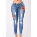 Ripper Detail Floral Embroidered Zipper Fly Skinny Jeans