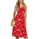 Spaghetti Straps Sleeveless Buttons Down Floral Printed Maxi A-Line Dress