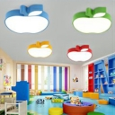 Adorable Apple Flush Light Fixture Modernism Children Baby Room Acrylic LED Ceiling Lamp