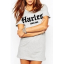 Leisure Letter Printed Round Neck Short Sleeve Tunic Tee