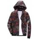 Camouflage Printed Zip Up Long Sleeve Hooded Coat