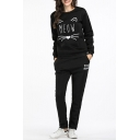 MEOW Letter Cat Printed Round Neck Long Sleeve Sweatshirt with Elastic Waist Letter Printed Pants Sports Co-ords