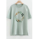 Wreath Floral Embroidered Round Neck Short Sleeve Tee