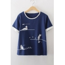LOVELY CAT Letter Contrast Trim Cat Printed Round Neck Short Sleeve Tee