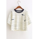Fish Plant Printed Round Neck Short Sleeve Striped Crop Tee