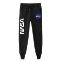 NASA Letter Printed Drawstring Waist Loose Pants