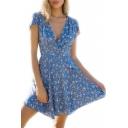 Peasant V Neck Short Sleeve Floral Printed Mini A-Line Dress