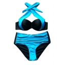 Sexy Halter Color Block High Waist Bottom Bikini