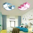 Eye Protection Stars Moon Ceiling Light Modernism Children Room Blue/Pink Acrylic Lighting Fixture