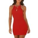 Spaghetti Straps Sleeveless Plain Ribbed Mini Bodycon Dress