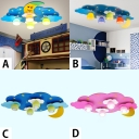 4 Lights Moon Design LED Flush Mount Baby Kids Room Lighting Fixture in Blue/Pink with Glass Shade