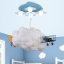 Plane&Cloud 7 Lights Ceiling Chandelier Blue Finish Metal Flush Light Fixture for Boys Bedroom