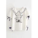 Cute Cat Embroidered Navy Collar Short Sleeve Bow Embellished Tee