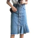 Buttons Down Fringe Hem Plain Midi Pencil Denim Skirt