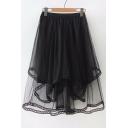Elastic Waist Plain Midi Asymmetric Mesh Skirt