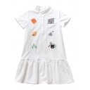 Cute Embroidered Lapel Collar Short Sleeve Buttons Embellished Midi A-Line Dress