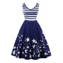 Color Block Striped Star Printed V Neck Sleeveless Midi A-Line Dress