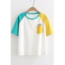 Color Block Letter Printed Round Neck Short Sleeve Tee with Pocket