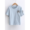 Cat Embroidered Round Neck Short Sleeve Slim Tee