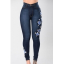 Skinny Floral Embroidered Zipper Fly High Waist Jeans