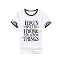 Contrast Trim THAT'S Letter Printed Round Neck Short Sleeve Tee