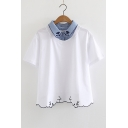 Fake Two Pieces Cat Embroidered Lapel Collar Short Sleeve Tee