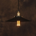 Industrial Metal Saucer Single Light Pendant Light in Black