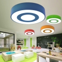 Drum Shade Flush Light Simplicity Modern Acrylic LED Ceiling Fixture for Living Room Bedroom