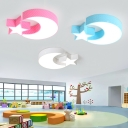 Creative Stars Moon Ceiling Lamp Modern Nursing Room Acrylic LED Ceiling Flush Mount in Blue/Pink/White