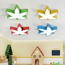 Maple Leaf LED Ceiling Light Stylish Modern Acrylic Lighting Fixture for Kindergarten in White