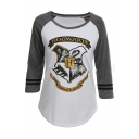Letter Badge Printed Color Block 3/4 Length Sleeve Round Neck Leisure Tee