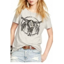 Cattle's Horn Printed Round Neck Short Sleeve Tee