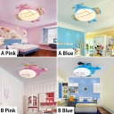 Airplane LED Flush Light Blue/Pink Acrylic Shade Flush Mount Lighting for Boys Girls Bedroom