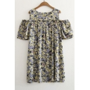 Round Neck Floral Printed Cold Shoulder Short Sleeve Mini A-Line Dress