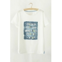 Leisure Letter Printed Round Neck Short Sleeve Graphic Tee