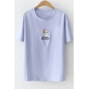 Dog Letter Embroidered Round Neck Short Sleeve Tee