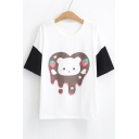 Color Block Cat Strawberry Printed Round Neck Short Sleeve Tee