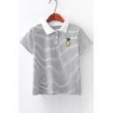 Pineapple Embroidered Lapel Collar Short Sleeve Striped Tee