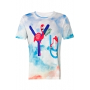 Flamingo Letter Printed Round Neck Short Sleeve Tee