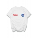 Leisure NASA Letter Printed Round Neck Short Sleeve Graphic Tee