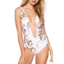 Plunge Neck Floral Printed Sleeveless Hollow Out Back One Piece Swimwear