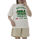 Cartoon Frog Letter Printed Round Neck Short Sleeve Tee