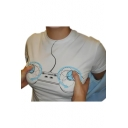 Game Controller Printed Round Neck Short Sleeve Tee